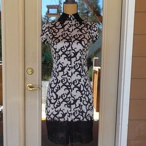 Bebe Asian Inspired Lace & Silk Tunic Dress Sz XS